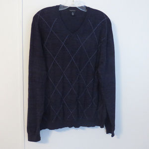 Dark Blue V Neck Pullover Sweater Lightweight EUC